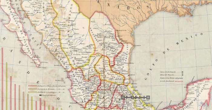 1885 Territory Map of the Various Catholic Dioceses in Mexico