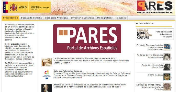 PARES, The Online Portal To The Archives of Spain