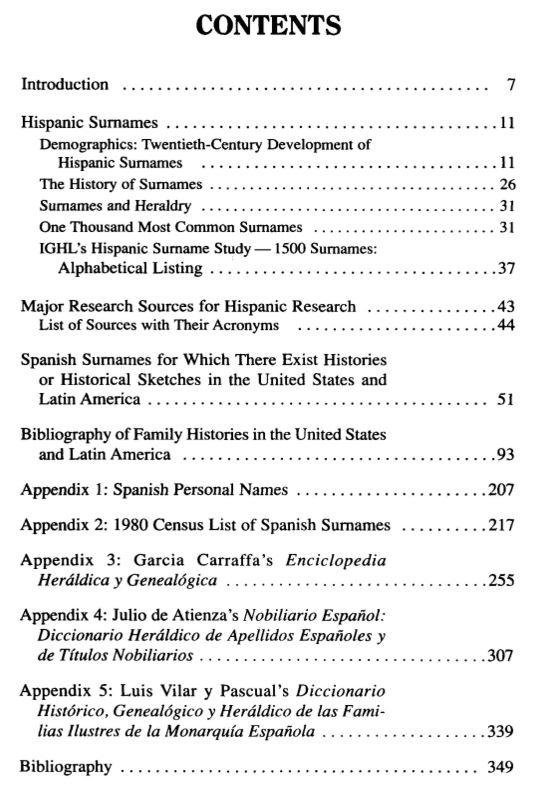 hispanic Surnames and Family History Table of Contents