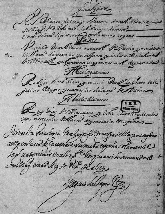 The Genealogy of Vicente de Zaldivar y Mendoza